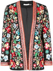 Alice Olivia Floral Embroidered Jacket Black