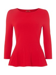 Hugo Longsleeve Crew Neck Jumper With Peplum Red