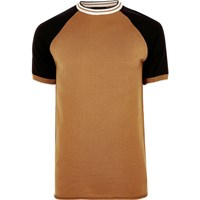 River Island Mens Camel Brown Slim Fit Raglan T Shirt