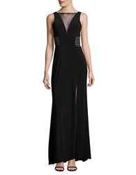 Betsy And Adam Crepe Illusion Gown Black