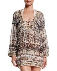 Letarte Printed Georgette Embroidered Caftan Coverup Multi