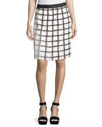 Max Studio Check Pleated A Line Skirt Black Off White