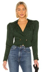 House Of Harlow 1960 X Revolve Gloria Blouse In Green. Emerald