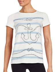Max Mara Striped Short Sleeved Tee White