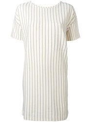 Bellerose Pinstripe Shift Dress Nude Neutrals