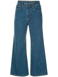 Ground Zero Cropped Flared Jeans Blue
