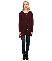 Jag Jeans Avary Top Burnout Jersey Berry Women's Clothing Burgundy