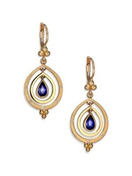 Temple St. Clair Celestial Sapphire Diamond And 18K Yellow Gold Double Ring Pear Spin Drop Earrings Gold Blue