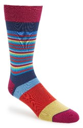 Bugatchi Men's 'Thin Stripe Bold Stripe' Socks Navy