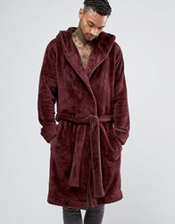 Asos Loungewear Hooded Fleece Dressing Gown In Burgundy Oxblood Red