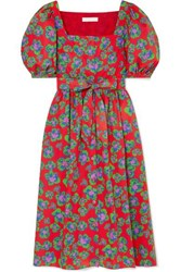 Borgo De Nor Corin Belted Floral Print Cotton Poplin Dress Red