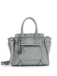 London Fog Small Ostrich Embossed Faux Leather Satchel