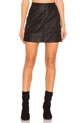 Blank Nyc Lace Up Faux Leather Skirt Black