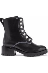 3.1 Phillip Lim Hayett Faux Pearl Embellished Leather Ankle Boots Black