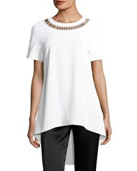 St. John Embellished Neck High Low Top White