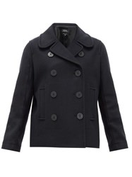 A.P.C. Double Breasted Wool Blend Peacoat Black