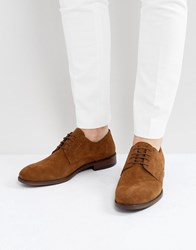 Asos Lace Up Derby Shoes In Tan Suede With Natural Sole Tan