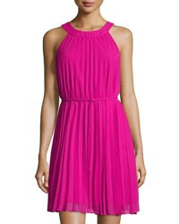 Chetta B Halter Neck Pleated Shift Dress Dark Pink