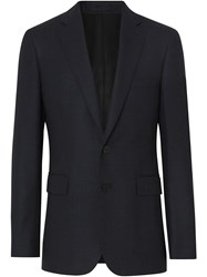 Burberry Slim Fit Birdseye Wool Suit Blue
