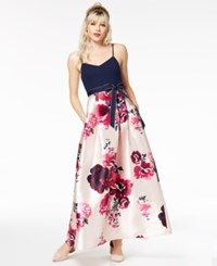 Teeze Me Juniors' Bow Belt Fit And Flare Gown A Macy's Exclusive Style Navy Pink
