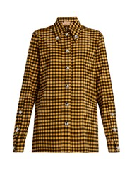 N 21 Embellished Checked Cotton Shirt Yellow Multi