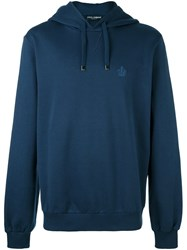 Dolce And Gabbana Embroidered Crown Hoodie Blue