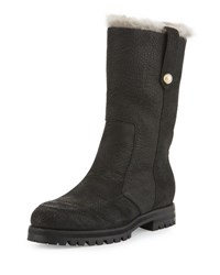 Jimmy Choo Deane Fur Lined Leather Boot Black