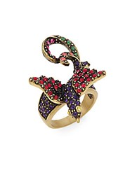 Heidi Daus Strictly For The Birds Swarovski Crystal Ring Gold Black