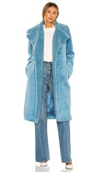Stine Goya Happy Faux Fur Jacket In Blue. Teal