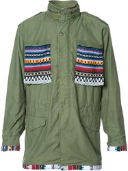 Htc Hollywood Trading Company Aztec Details Cargo Jacket Green