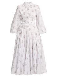 Emilia Wickstead Anel Floral Print Cotton Voile Midi Dress White Print