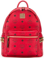 Mcm Gold Tone Hardware Small Backpack Red