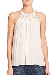 Ramy Brook Belinda Lace Detail Tank Top Summer White