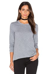 Wilt Shrunken Crew Unfinished Hem Long Sleeve Top Slate