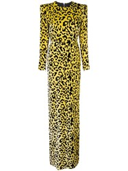 Alex Perry Velvet Touch Side Split Maxi Dress Yellow