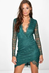 Boohoo All Over Lace Wrap Detail Bodycon Dress Emerald
