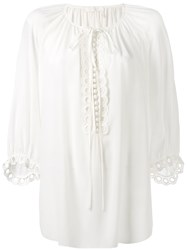 Chloe Tie Placket Peasant Blouse Women Silk 40 White