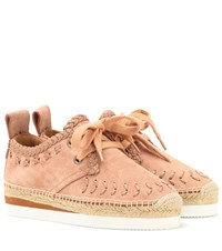 See By Chloe Suede Lace Up Espadrilles Pink