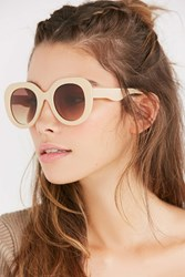 Urban Outfitters Sonny Oversized Round Sunglasses Beige