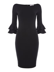 Jessica Wright Bell Longsleeve Ruffle Bodycon Dress In Iizzie Black
