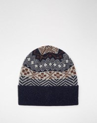 Selected Homme Beanie In Fair Isle Navy