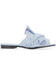 Marc Cain Striped Bow Sandals Blue