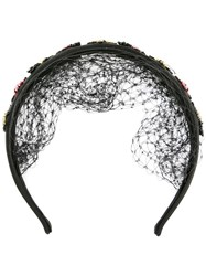 Red Valentino Beaded Bug Applique Headband Black