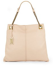 Badgley Mischka Greta Leather Chain Hobo Bag Latte