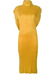 Issey Miyake Vintage Pleated Dress Yellow And Orange