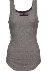 Enza Costa Ribbed Stretch Knit Tank Gray