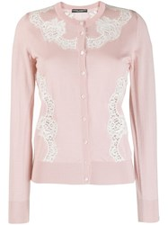 Dolce And Gabbana Lace Insert Cardigan Pink