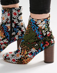 Asos Emilia Embroidered Ankle Boots Multi