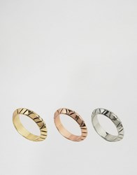 House Of Harlow Tri Tone Stack Rings Multi