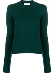 Bottega Veneta Cropped Knitted Sweater Green